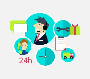 Support concept icon flat design. Business communication, internet service, computer and phone chat management, contact and connection, professional help and feedback illustration on white